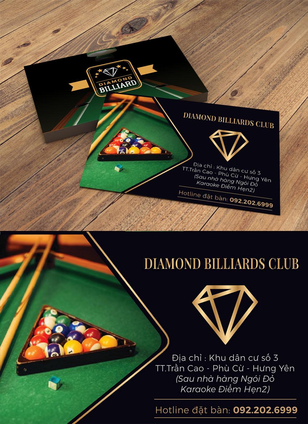 Mẫu danh thiếp namecard tiệm bi a diamond